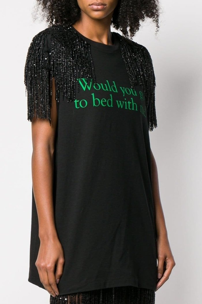 Would You Go To Bed With Me? Fringe-Trimmed T-Shirt