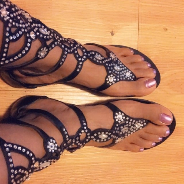Dressy strappy embellished knee-high gladiator sandals for $12.49 with laser cuts and adjustable buckles