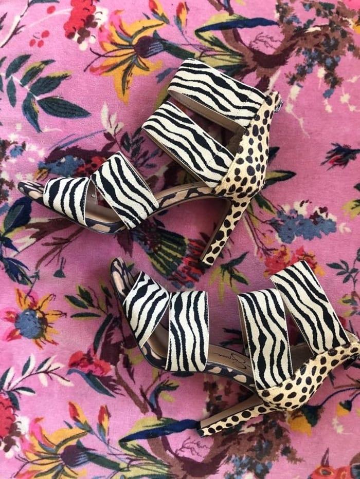 Zebra and Leopard Print Cerina Genuine Calf Hair Sandals
