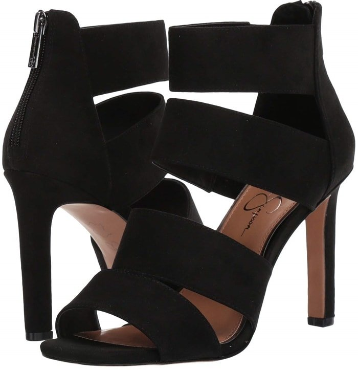 Jessica Simpson revs up your style with these bold and strappy stiletto heel sandals