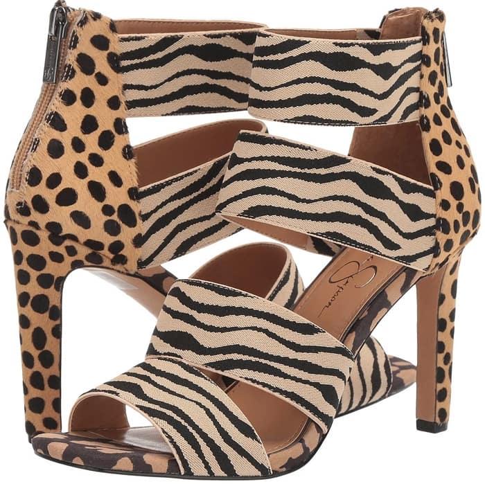 Wide straps make this lofty sandal a sleek modern standout