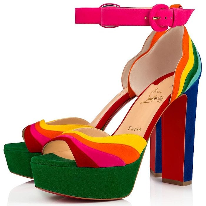 Christian Louboutin rainbow multi colored Degratissimo Alta platform sandals