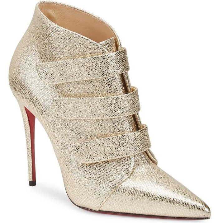 Metallic leather ankle boots in a crinkled finish with triple strap closure