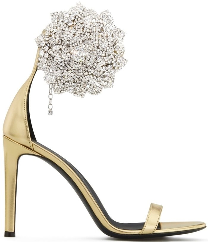 Laminated Golden Leather Fleur Sandals
