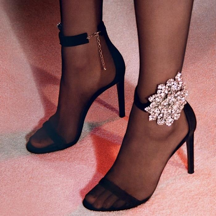 High-Heel Black Suede Fleur Sandals