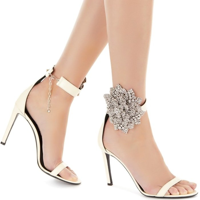 High-Heel White Patent-Leather Fleur Sandals