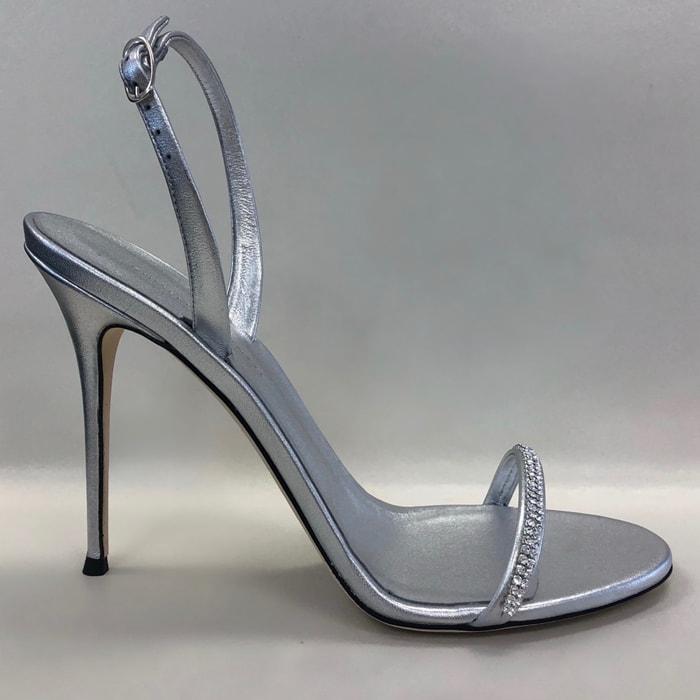 Custom Silver Slingback Sandal with Crystal Embellishment