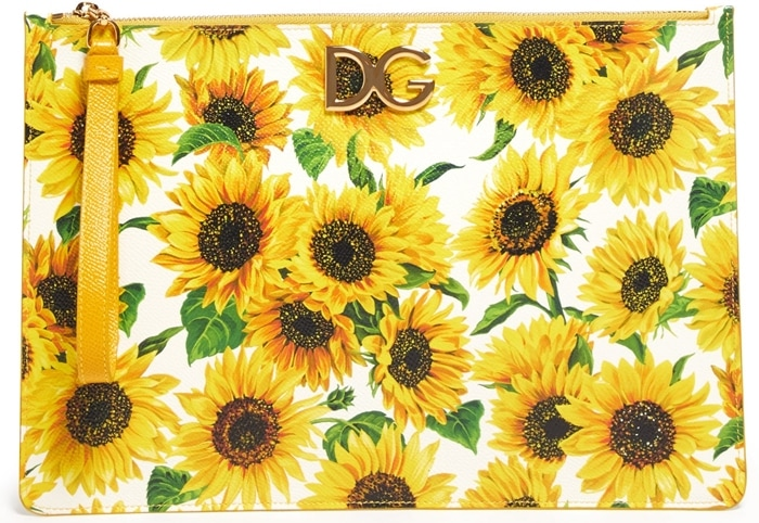 DOLCE & GABBANA Sunflower-print leather pouch