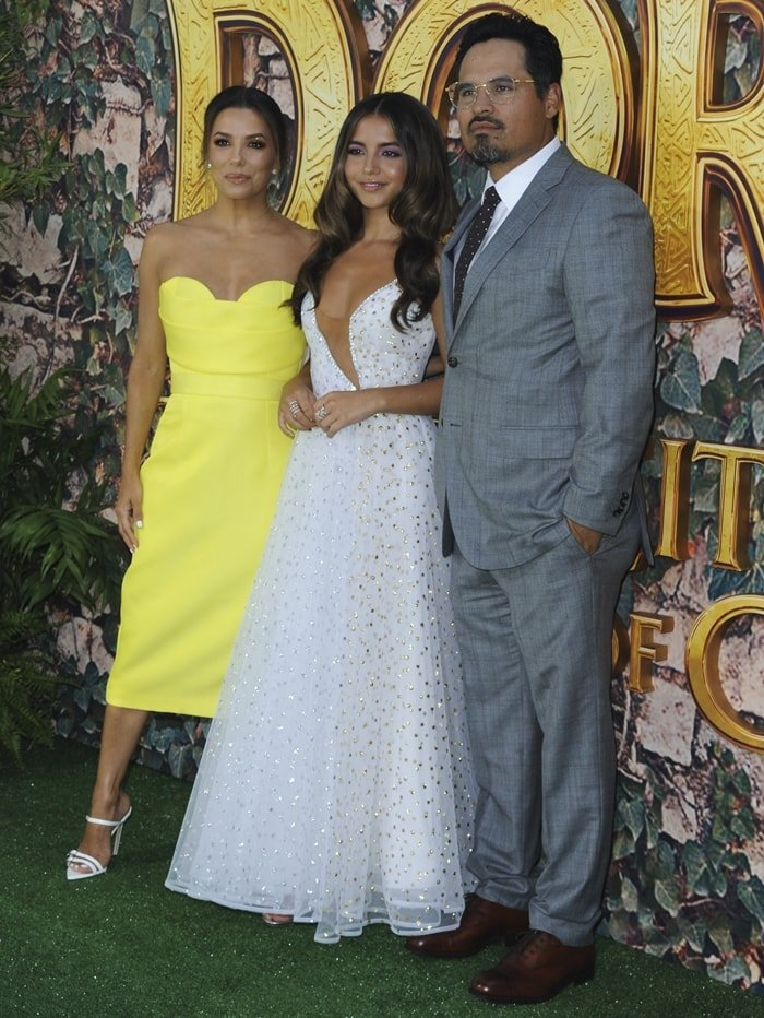 Isabela Moner, Eva Longoria, and Michael Pena at the premiere of Dora & The Lost City of Gold