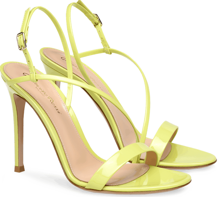 Expertly crafted in Italy from glossy and vibrant Lemonade yellow patent leather, the Manhattan sandal is Gianvito Rossi's take on the Nineties-inspired trend