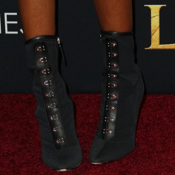 Halle Bailey's Victorian-inspired black leather Janice booties