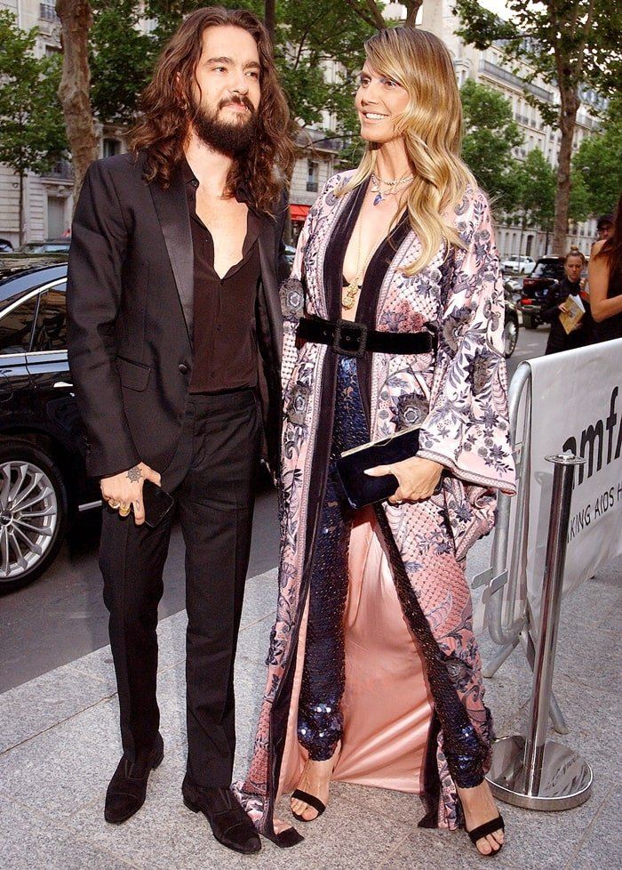 Heidi Klum and her 29-year-old fiancé Tom Kaulitz arrive at the Peninsula Hotel in Paris