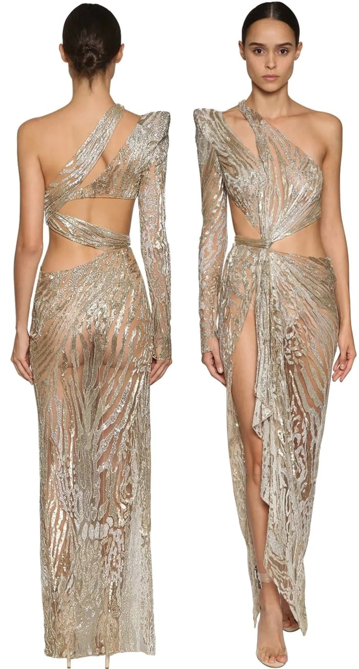 One Shoulder Cutout Beaded Dress