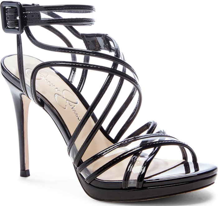 Mixed-media straps add modern intrigue to this standout stiletto sandal