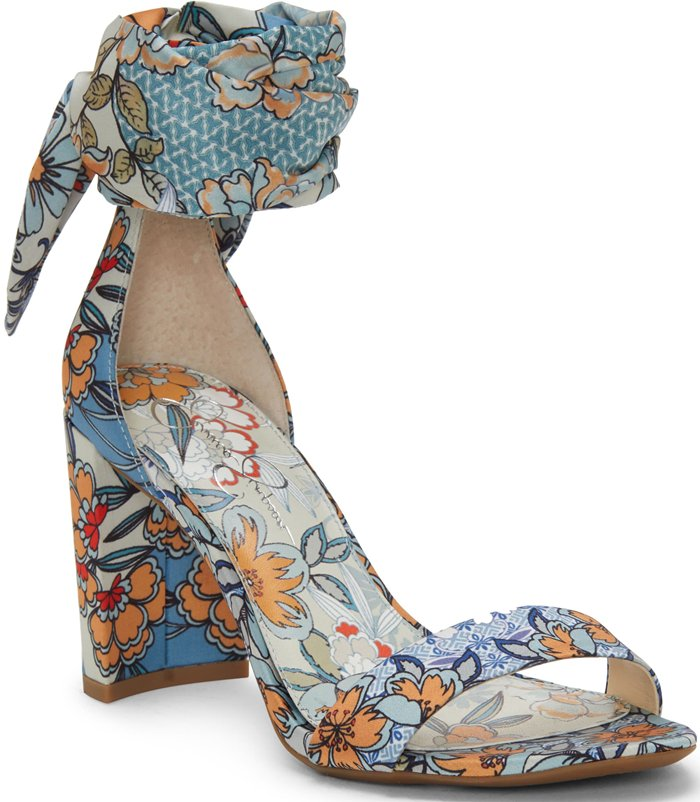 Block Heel Narella Scarf-Tie Sandals