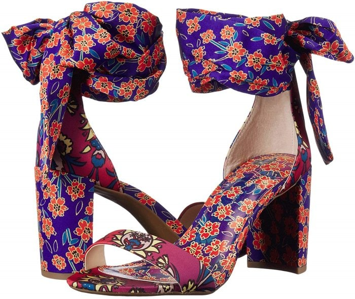 A vivacious print makes a stunning statement on this lofty block-heel sandal