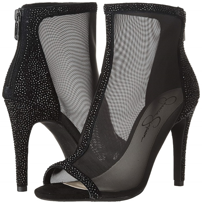 With a stiletto heel and flirty peep toe, Energee is a bold mesh bootie that's ready to make a statement