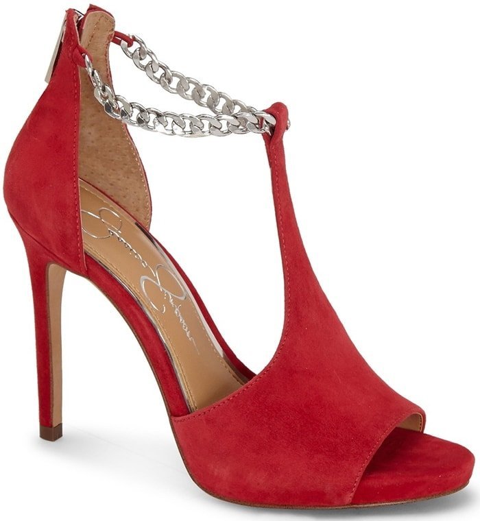 Grab an edgy look for your night out with the Rexa heels featuring a cutout leather upper with chain-link detailing