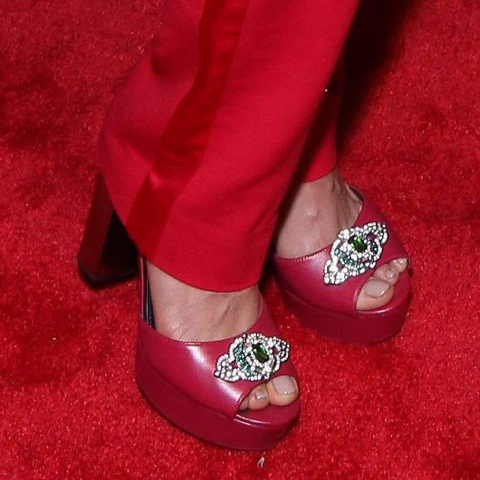Karen Olivo's sexy feet in 'Paloma' platform sandals custom-painted and embellished by costume designer Wilberth Gonzalez
