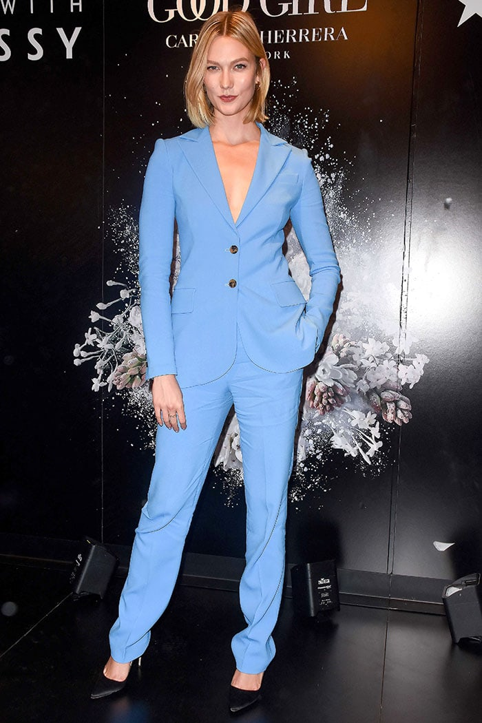 Karlie Kloss in a cornflower blue suit