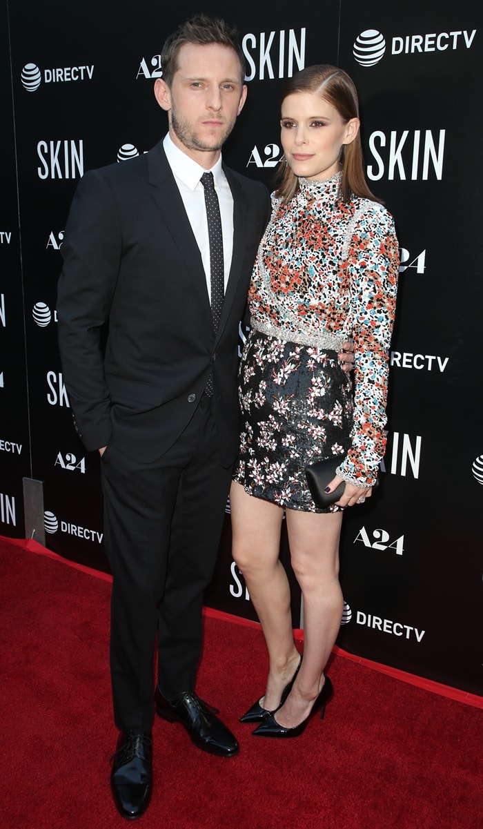 Kate Mara and Jamie Bell on the red carpet at the premiere of his new movie Skin