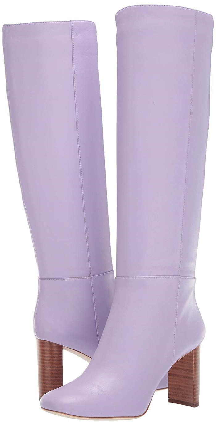 These tall lilac Rochelle boots with stacked heel and inside zipper flaunt a chic leather finish