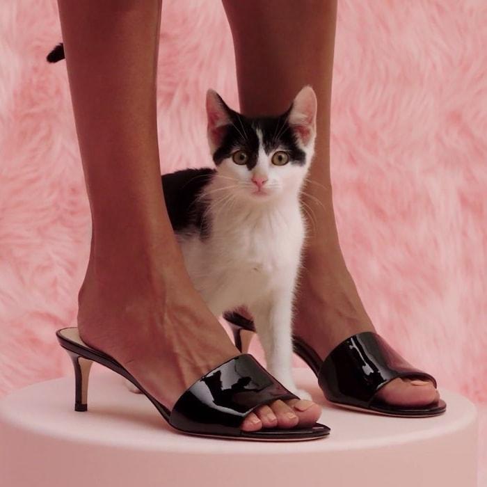 Savvi Kitten Heel Slide Sandals