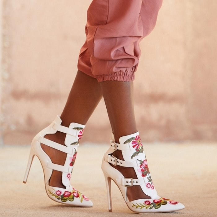 LIZA Floral CUTOUT BUCKLED BOOTIE