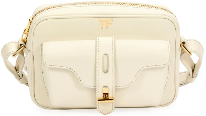 Camera bag from Tom Ford featuring an adjustable shoulder strap, gold-tone hardware, a top zip fastening and a front compartment