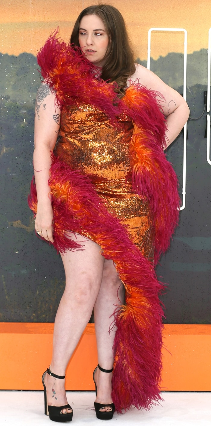 Lena Dunham paraded her long legs at the UK premiere of her hit film Once Upon a Time In Hollywood