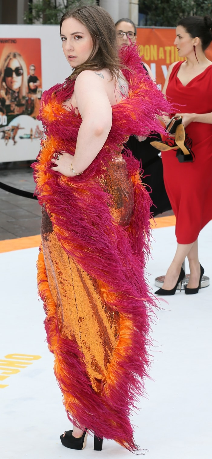 Lena Dunham looked like a drunk ostrich in her custom orange sequined dress