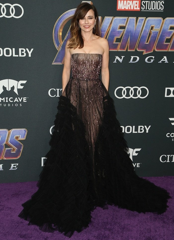 Linda Cardellini donned a feather-embellished gown at the Avengers: Endgame world premiere