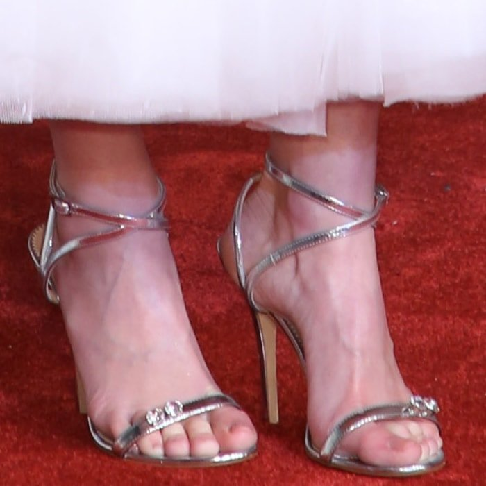 Linda Cardellini's feet in silver Ellie sandals from Giuseppe Zanotti with crystal detail