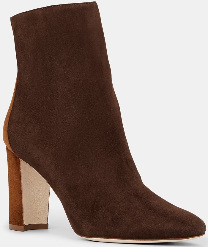 Dark Brown and Beige Rosie Ankle Boots