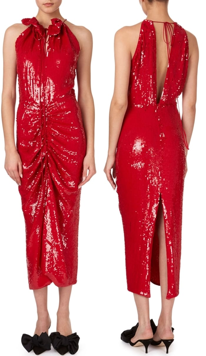 Magda Butrym Hilo Ruched Sequin Halter Midi Dress
