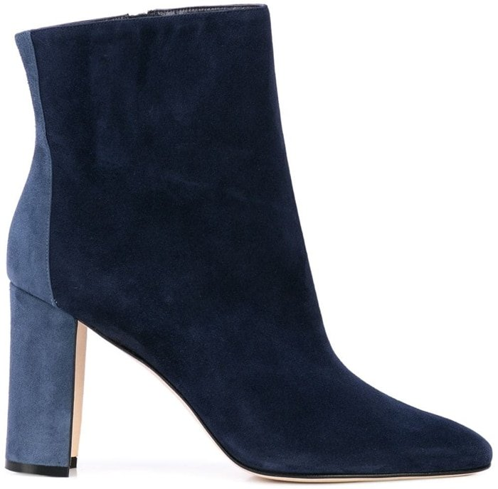 Colorblock patch elevates these sleek point-toe boots