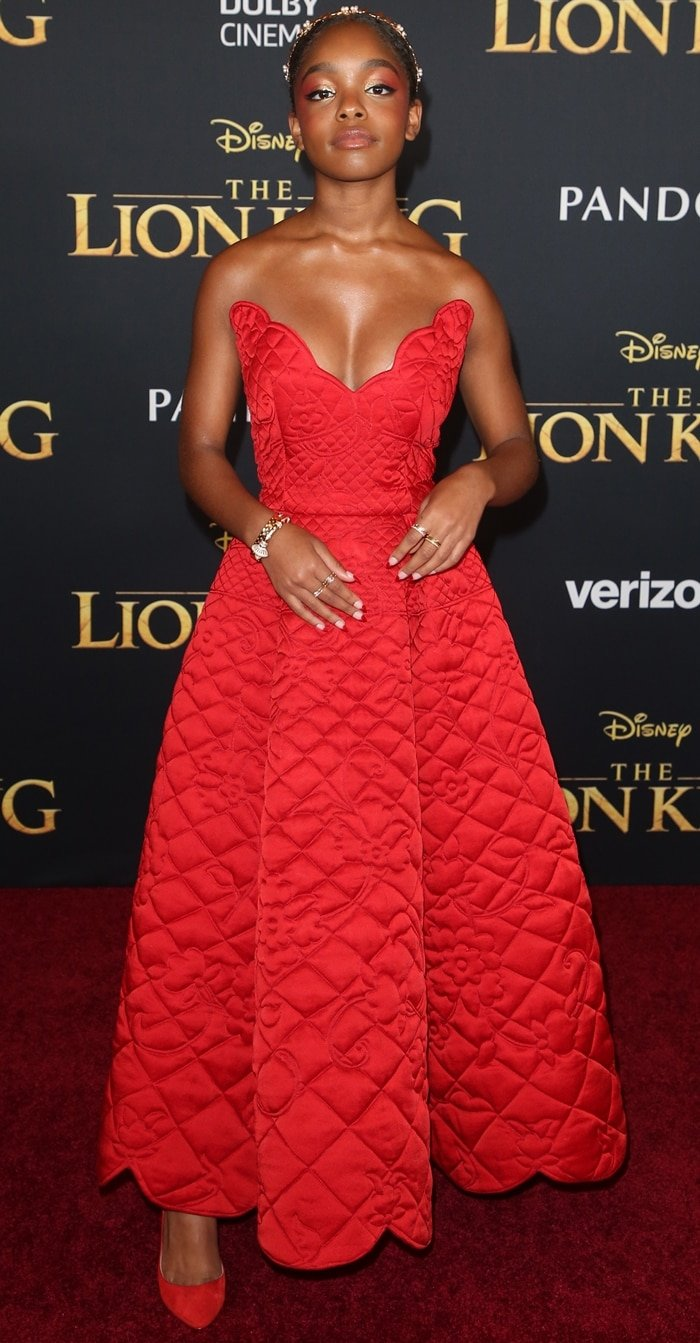 Marsai Martin revealed cleavage at the premiere of The Lion King