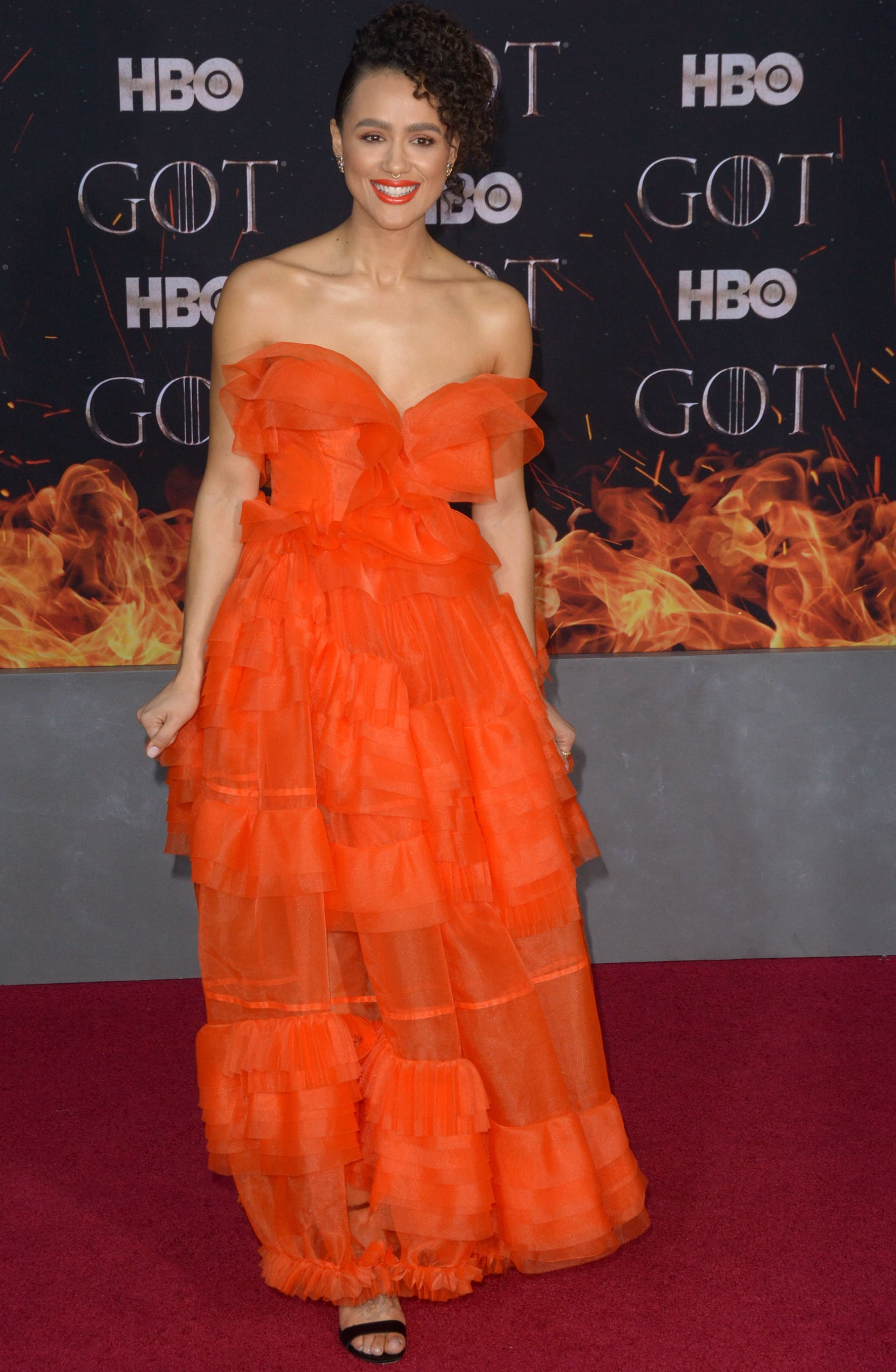 Nathalie Emmanuel on the red carpet at the Game of Thrones Season 8 premiere