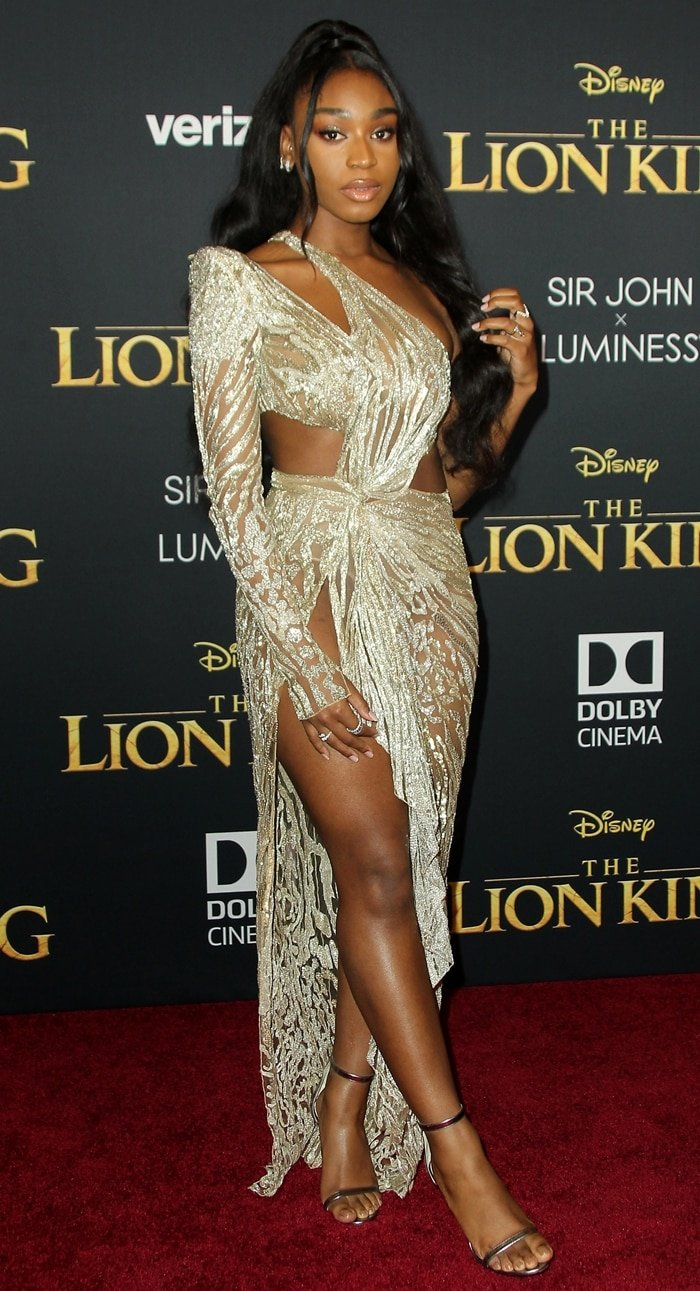Normani Kordei flashed her legs in a fully embellished dress