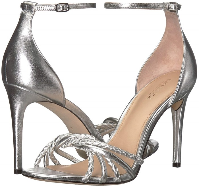 Twisted and braided vamp straps give this gleaming metallic leather stiletto Aubrey sandal added texture