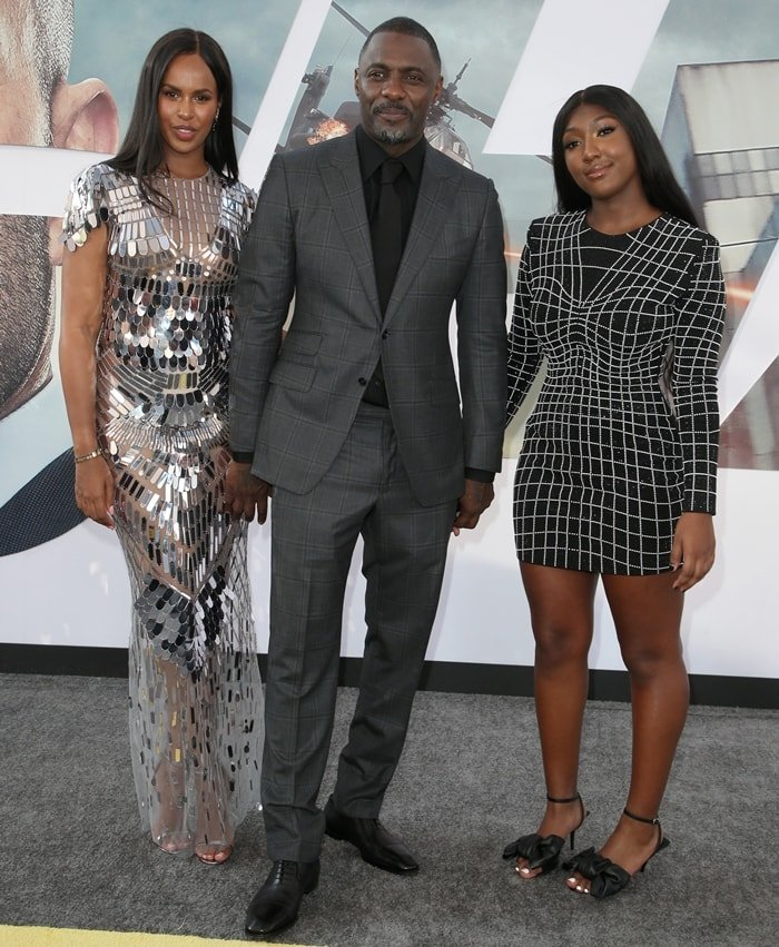Idris Elba with his wife Sabrina Dhowre and daughter Isan Elba at the premiere of Hobbs & Shaw