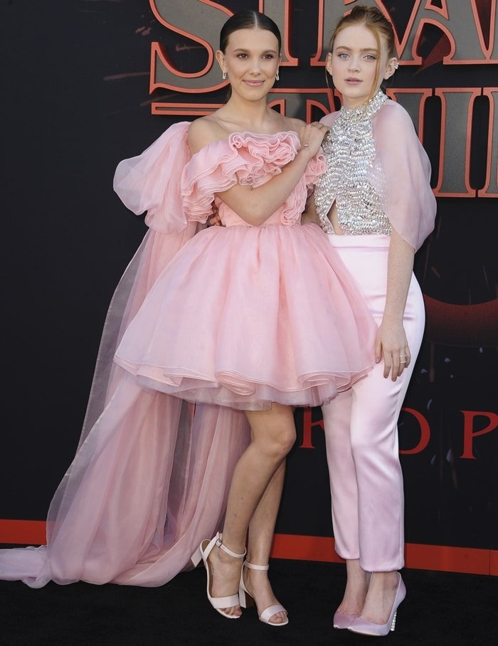Millie Bobby Brown and Sadie Sink at the premiere of Stranger Things Season 3