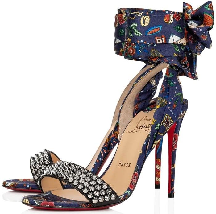 Blue/Silver Sandale Du Desert Spikes Red Sole Sandals