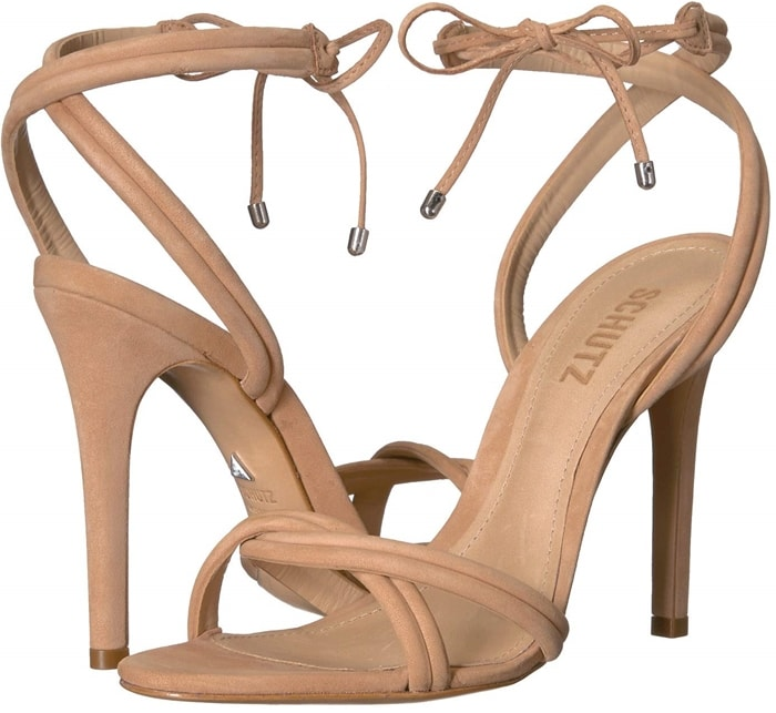 Honey Beige Yvi Twisted Leather Ankle-Tie Sandals