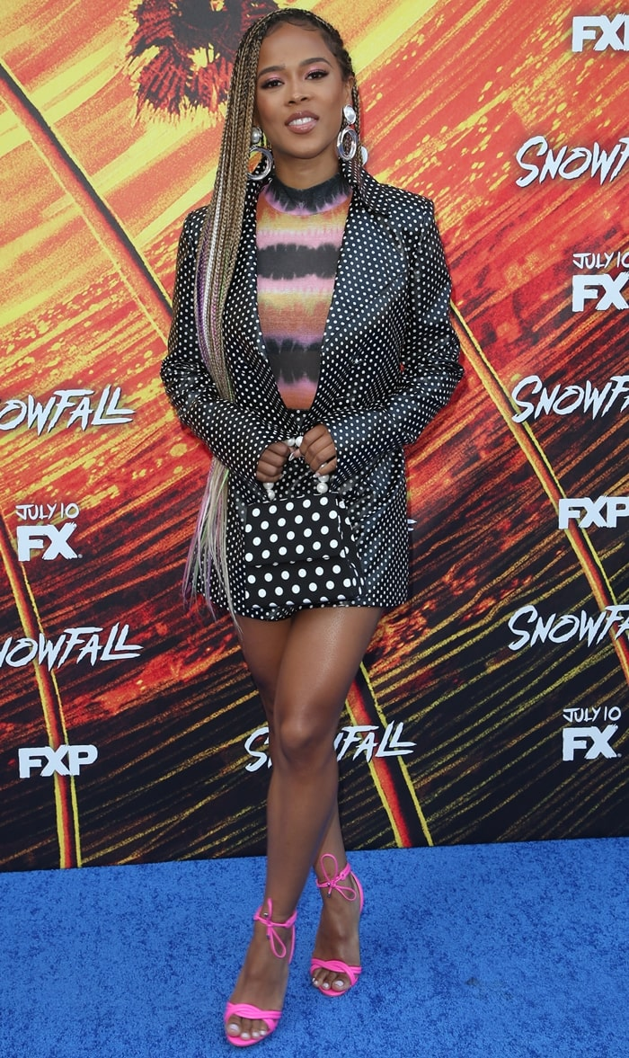 Serayah S Hot Feet In Pink Yvi Shoes At Snowfall Season 3