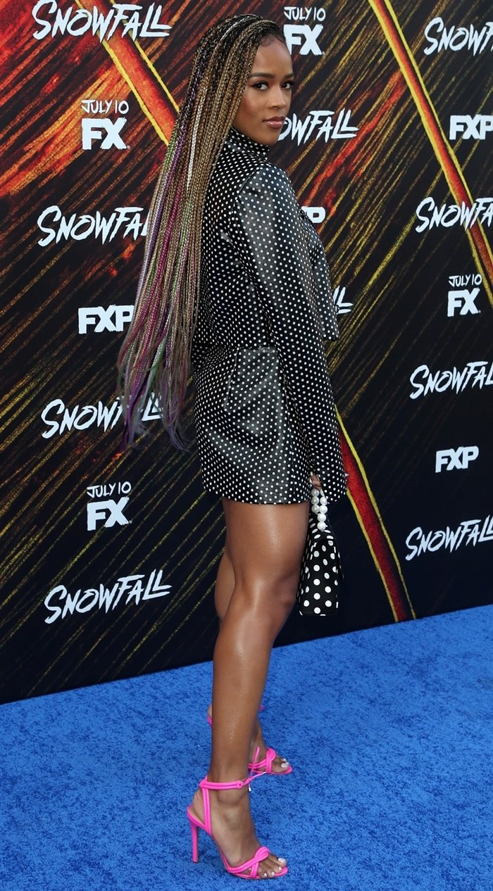 "Serayah paraded her legs at the premiere of FX's ""Snowfall"" Season 3"