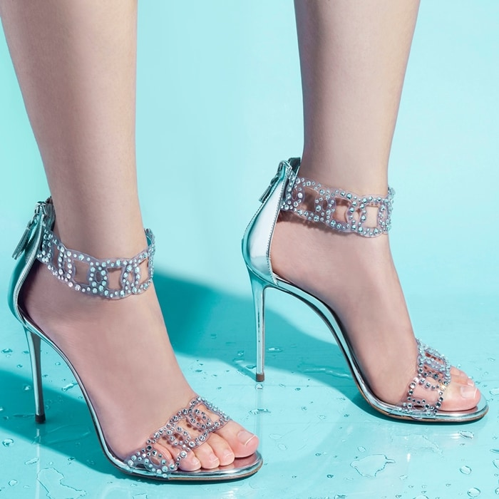 Silver-Toned Leather Sirene Sandals