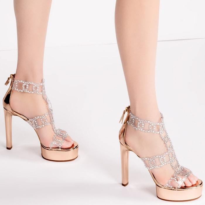 Gold-Toned Platform Leather Sirene Sandals