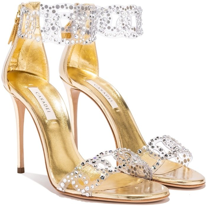 Gold-Toned Leather Sirene Sandals