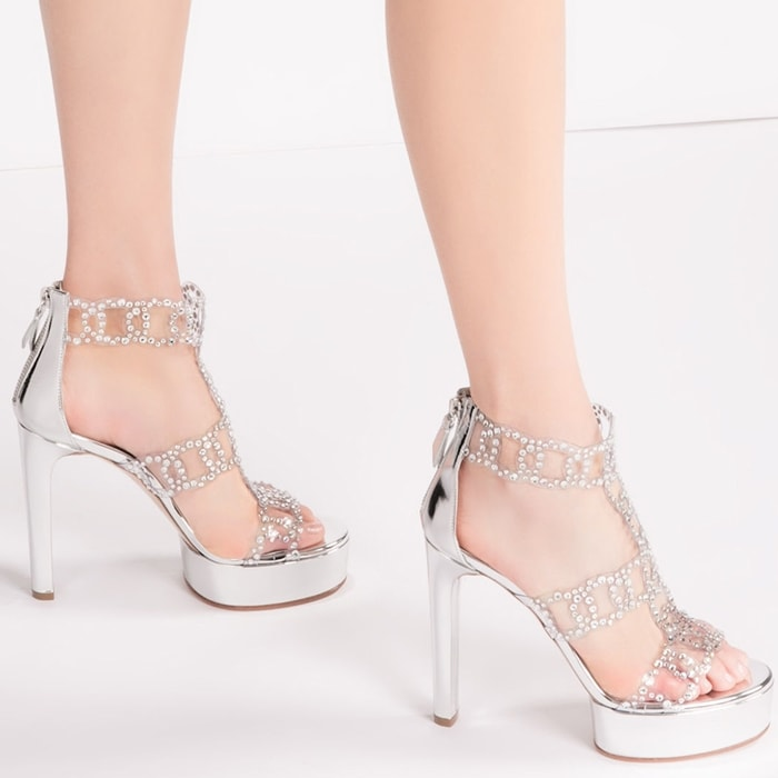 Silver-Toned Platform Leather Sirene Sandal